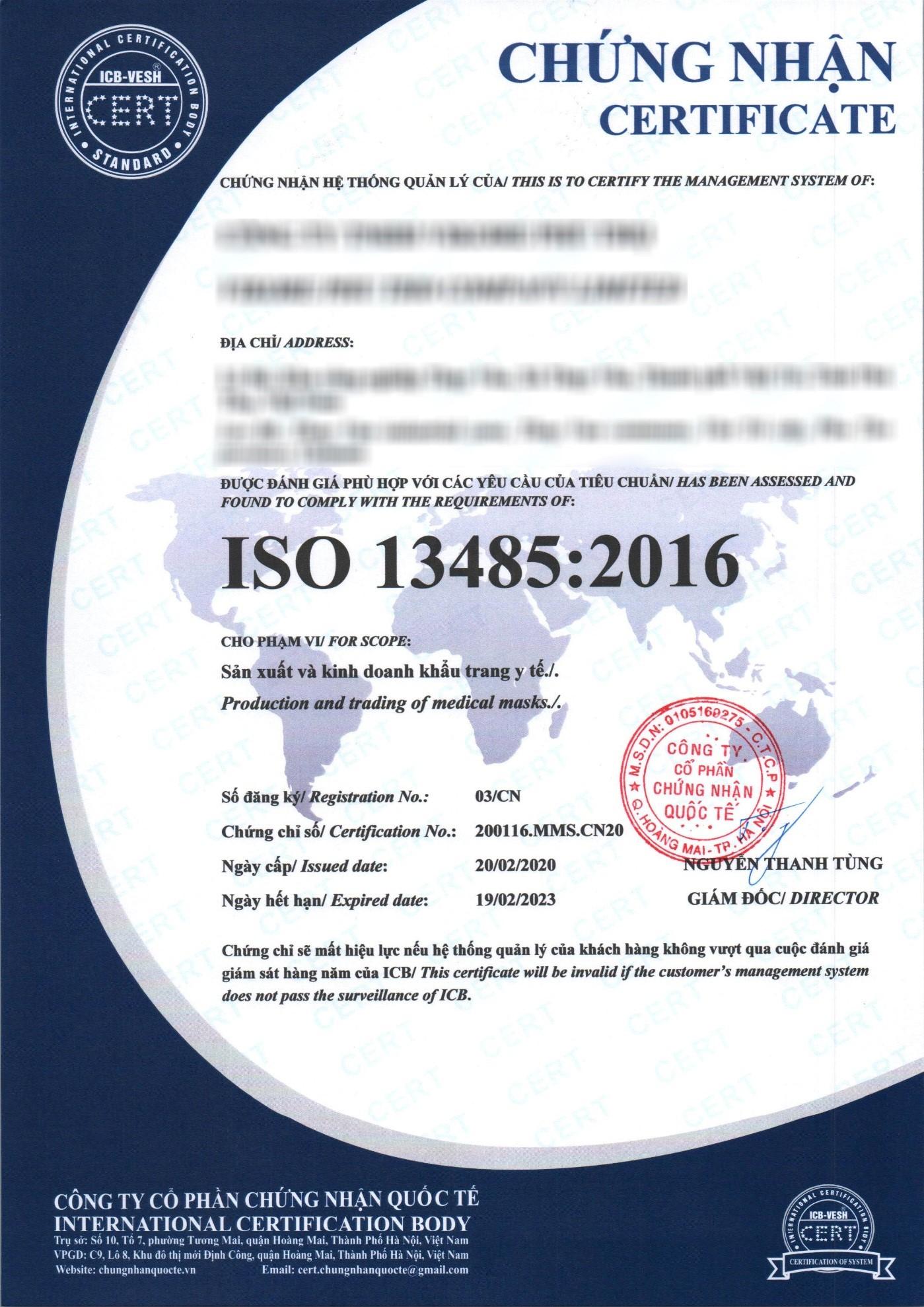 Mẫu chứng chỉ ISO 13485:2016 2