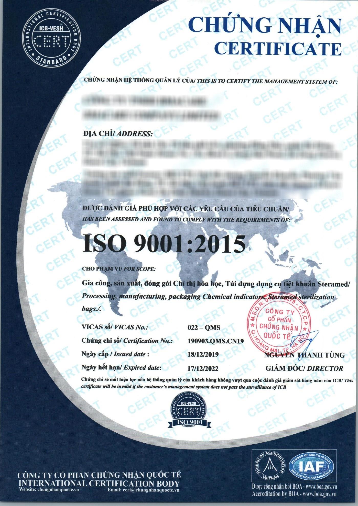 Mẫu chứng chỉ ISO 13485:2016