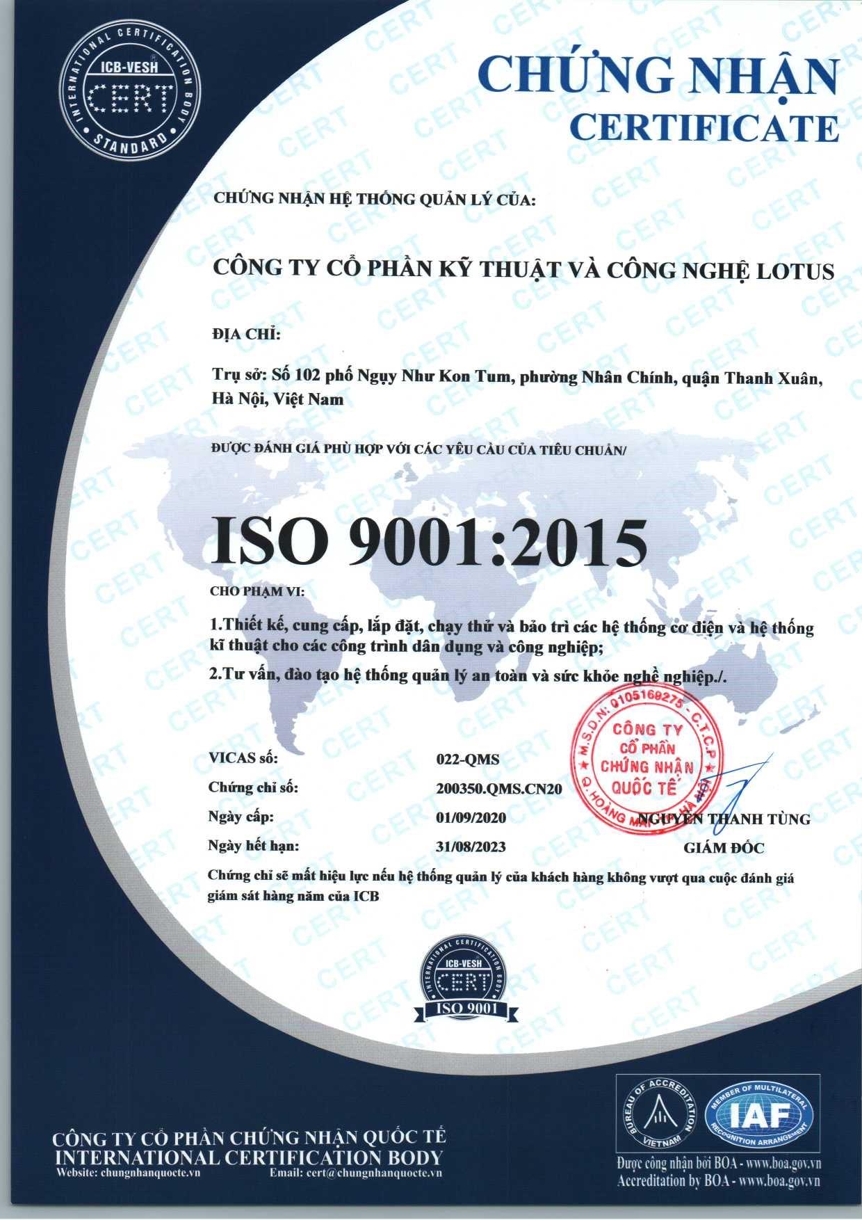 Giấy chứng nhận iso 9001:2015 cho công ty Lotus