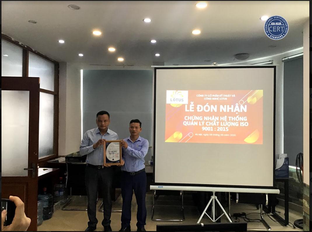 ICB trao chứng nhận iso cho công ty Lotus